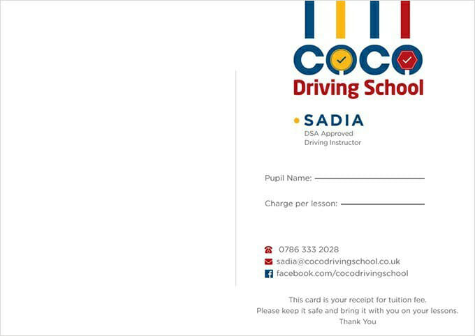 Driving Appointment Card - Front Side