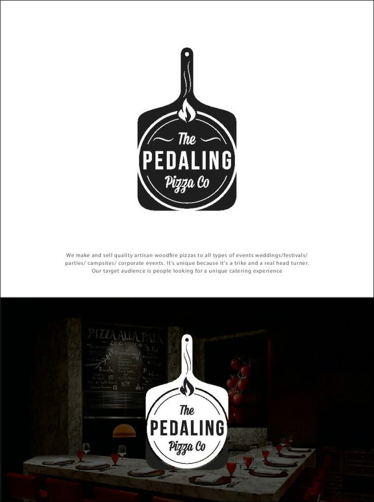 The Pedaling Pizza Co - Pizza Shop Logo