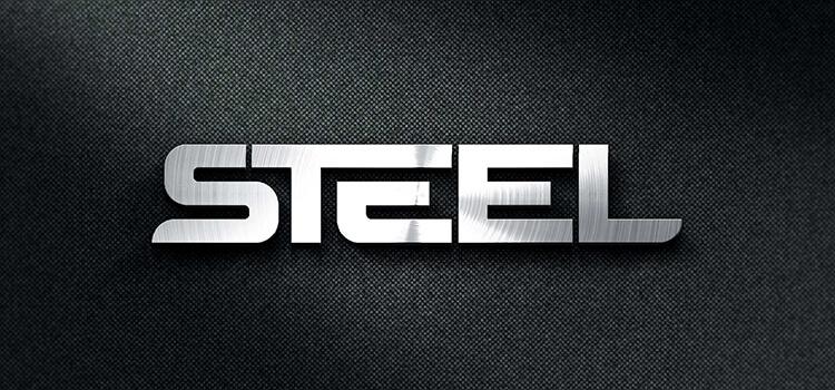 Steel Finish Logo - Photorealistic Mockup