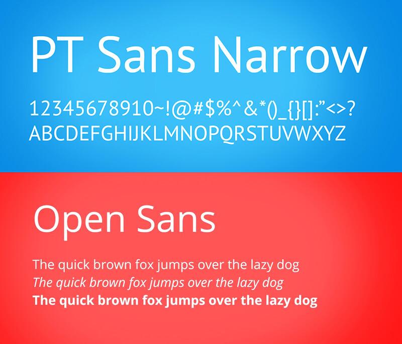 PT Sans Narrow and PT Sans