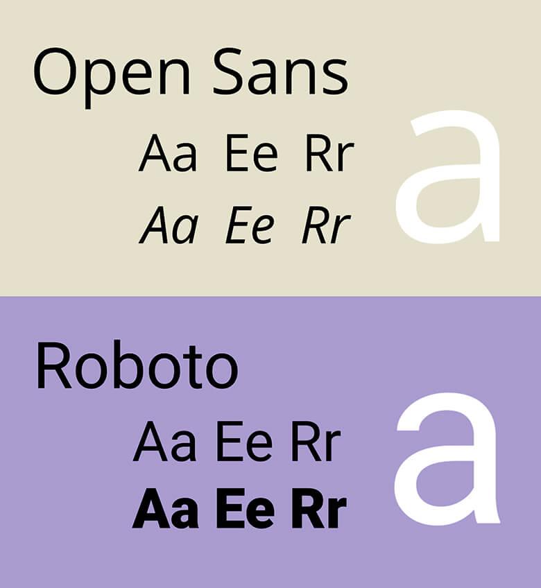 Open Sans and Roboto