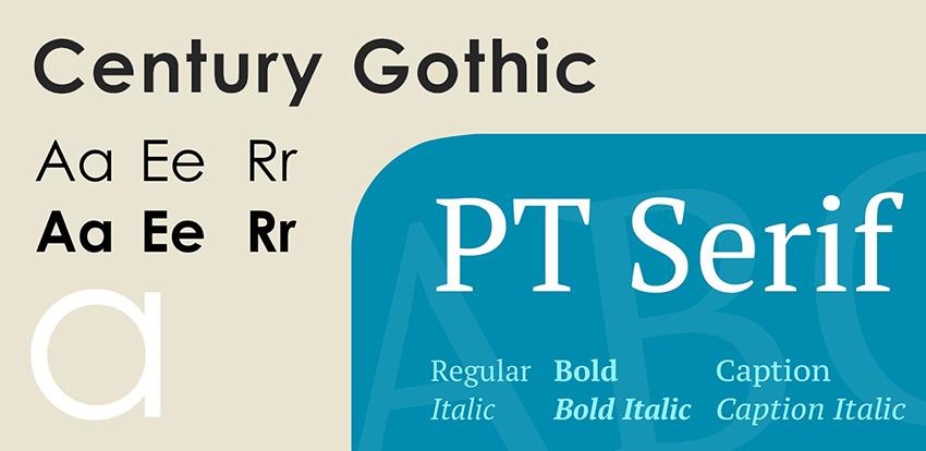 Century Gothic and PT Serif