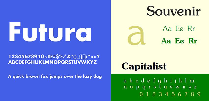 Futura Bold and Souvenir