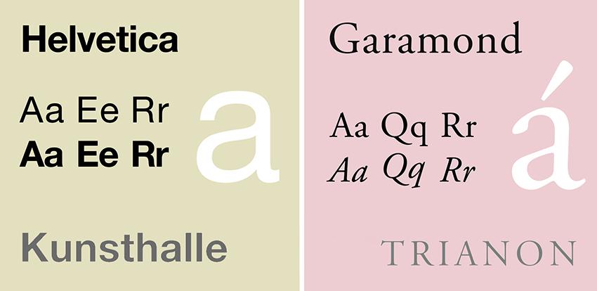 Helvetica Neue and Garamond