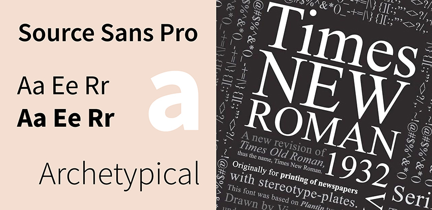 Source Sans Pro and Times New Roman