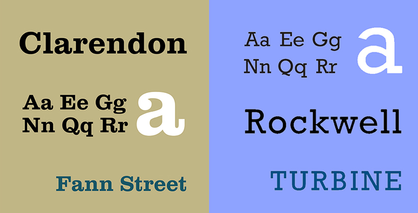 Vintage fonts - Clarendon and Rockwell