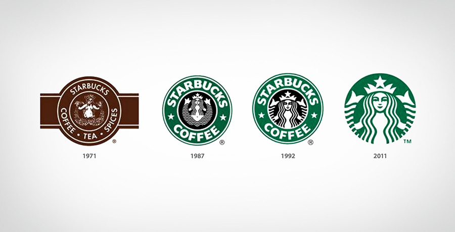 Starbucks Logos - A journey from complex logos to simple logo