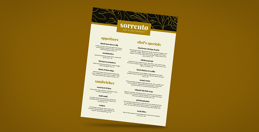 Use descriptive language - Menu Designs