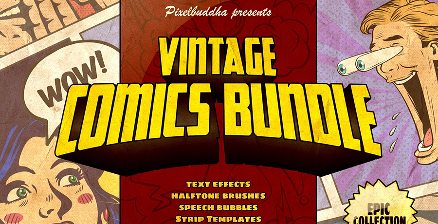 Buy Photoshop Brushes - Marvelous Vintage Comics Collection