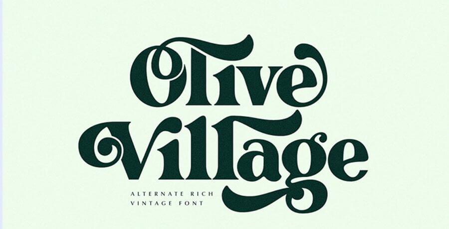 Vintage Font - Olive Village