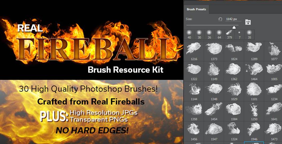 Premium Photoshop Brushes - Real Fireball Brush Resource Kit