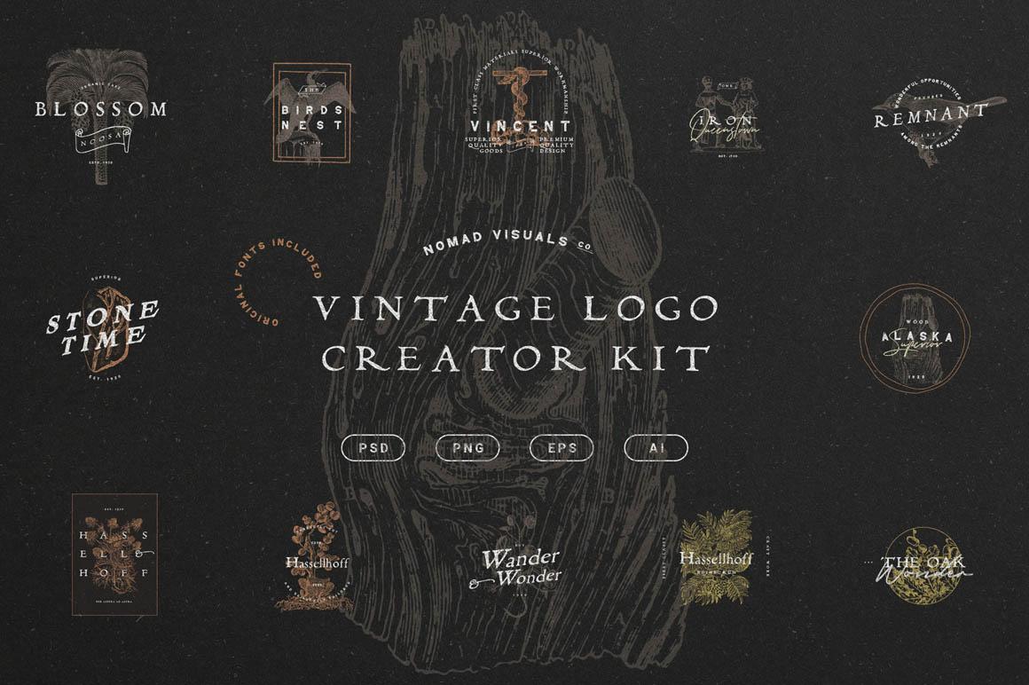 Premium For Logo Designing - The Vintage Logo Creator Kit