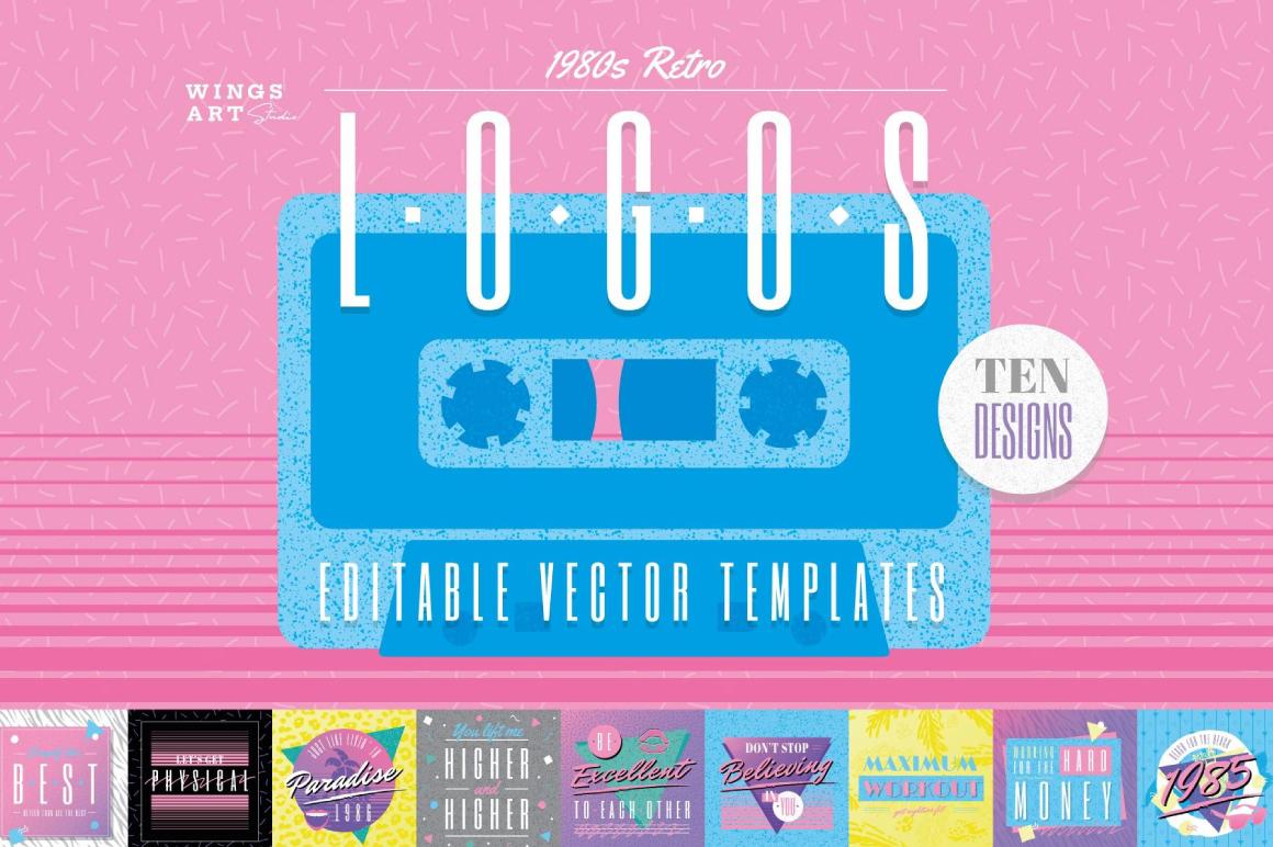 Premium For Logo Designing - 1980s Retro Logos Design Kit
