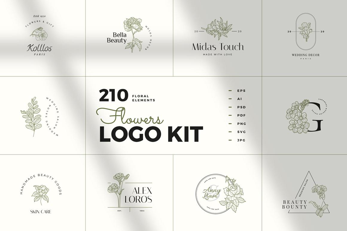 Best Premium Logo Design Font - Floral Logo Kit