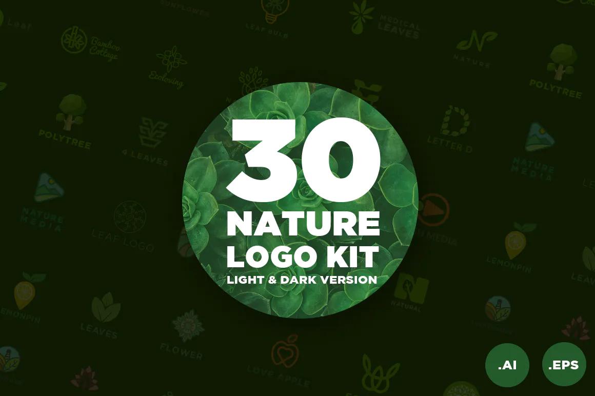 Best Premium Fonts - 30 Nature Logo Kit