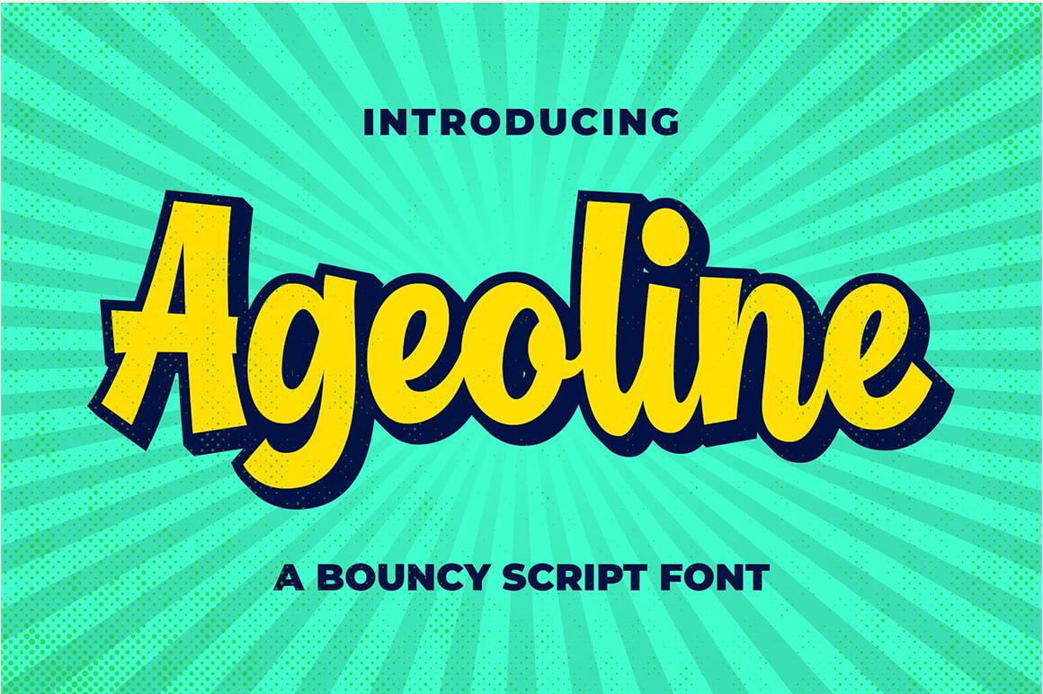 Ageoline Bouncy Script Font - Outline Fonts