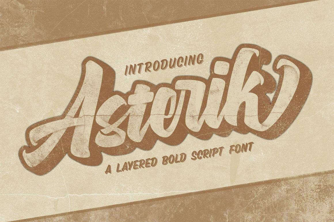 Asterik – Layered Bold Script Font