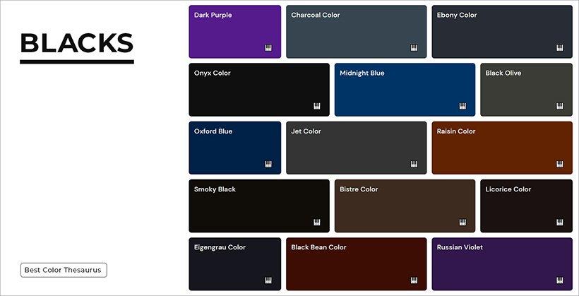 Color Shades - Shades of Blacks