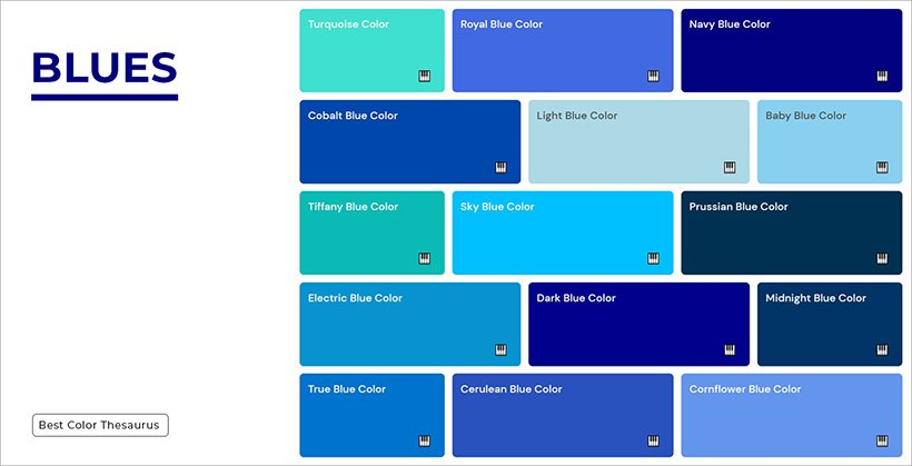 Color Names - Shades of Blues