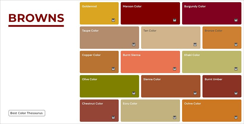 Color Names - Shades of Brown