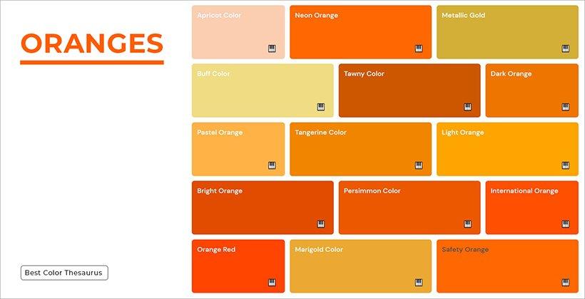Color Names - Shades of Orange