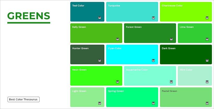 Color Shades - Shades of Greens