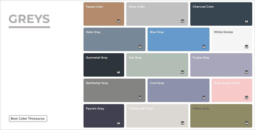 Color Shades - Shades of Greys