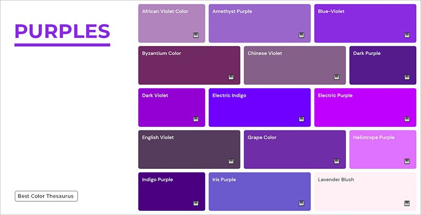 Color Shades - Shades of Purple