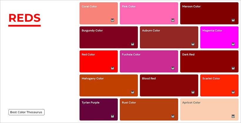 Color Shades - Shades of Red