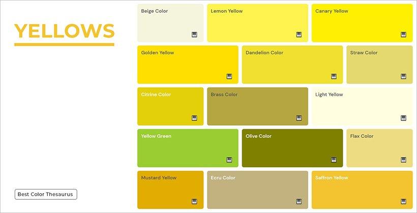 Color Shades - Shades of Yellow