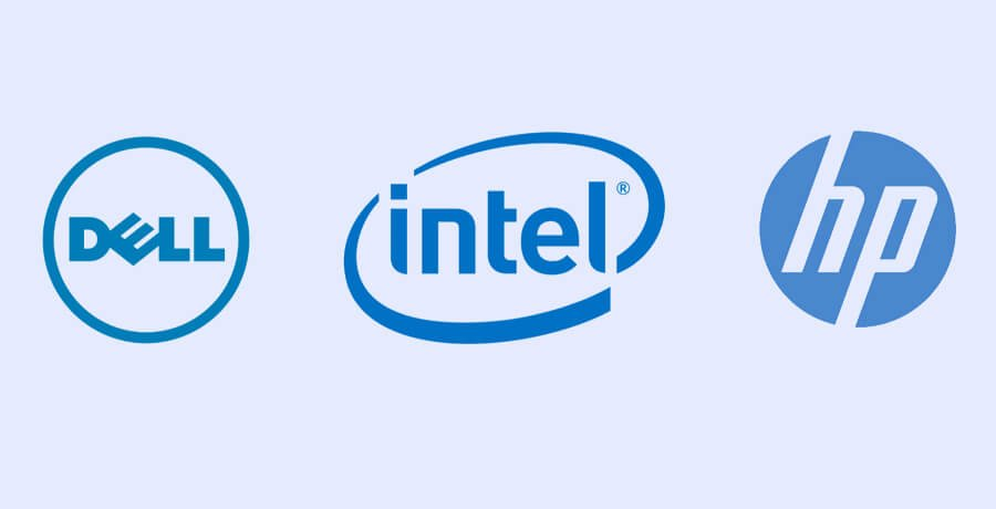Dell, Intel and HP Blue Logos