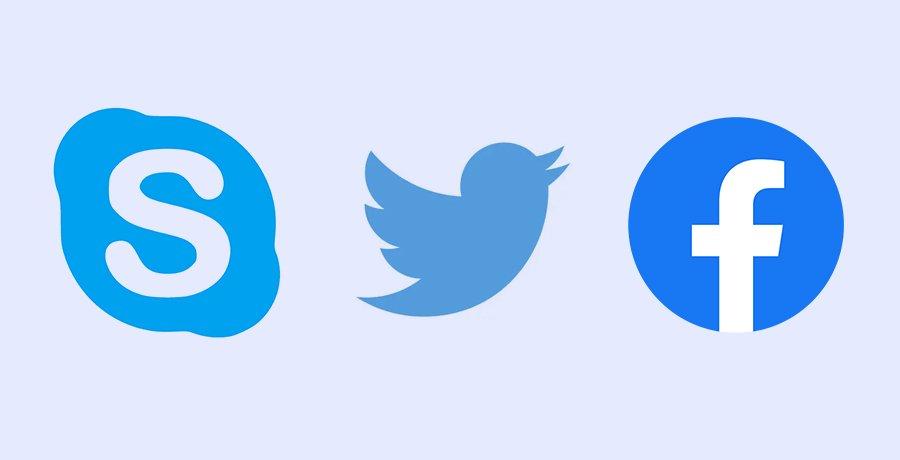 Skype, Twitter and Facebook - Blue Logo Design